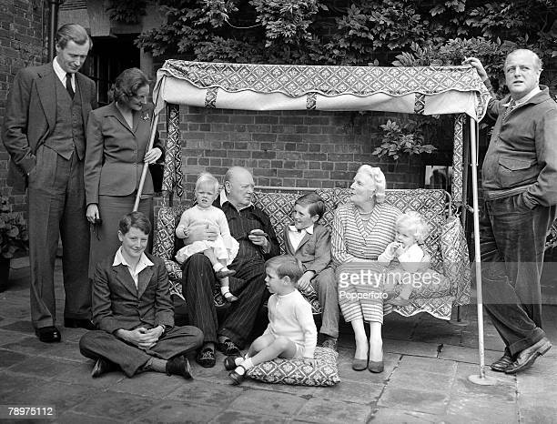 Circa 1951 The Churchill family on the Pink Terrace at Chartwell Reading from left to right Duncan and Diana Sandys Julian Sandys Emma Soames...