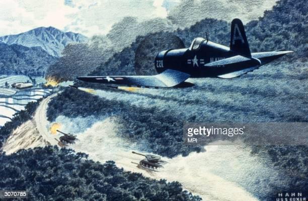 Navy Corsair flying over Korea.
