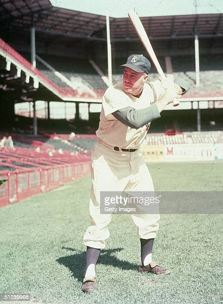 Circa 1952 American baseball player Duke Snider outfielder for the Brooklyn Dodgers poses in his batting stance