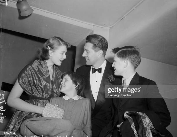 British actor Michael Redgrave with his three children Vanessa Lynn and Corin