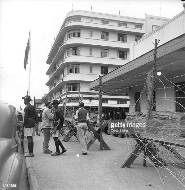 A view of part of Nairobi the capital of Kenya now interlaced with barbed wire and sandbag barricades to keep it safe from the Mau Mau The Mau Mau...