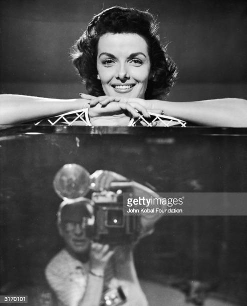 American actress Jane Russell has her picture taken to publicise the 3D musical comedy 'The French Line', directed by Lloyd Bacon.