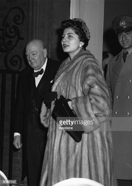 The Shah of Iran and his wife Queen Soraya Esfandiari Bakhtiari with Sir Winston Churchill leaving No 10 Downing Street