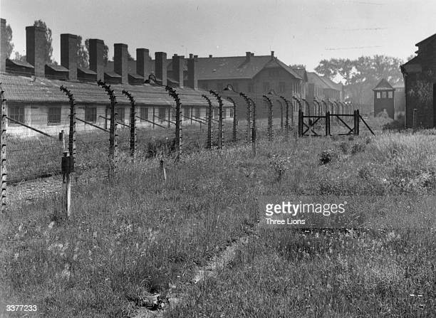 A barbed wire fence surrounding part of the concentration camp at Auschwitz