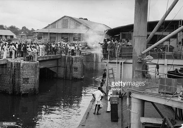 A boat drawing into port at Leopoldville renamed Kinshasa in 1966 in the Democratic Republic of the Congo formerly the Belgian Congo