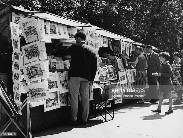 A book and print stall on the embankment of the River Seine in Paris