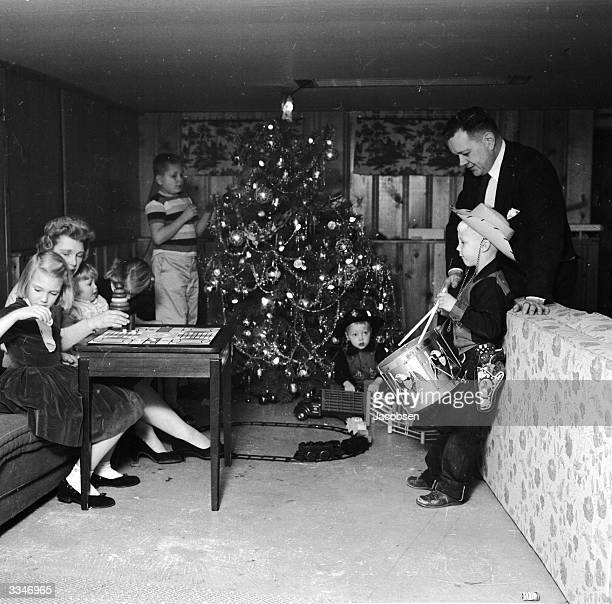 A family enjoying their Christmas gifts in Bethlehem Pennsylvania
