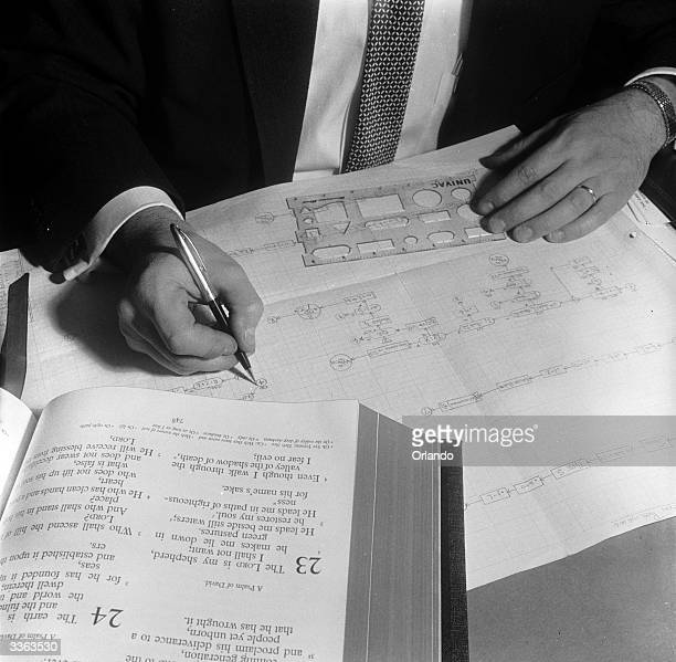 Flow chart being prepared by a mathematician to show steps in giving Univac instructions and use of resultant data.