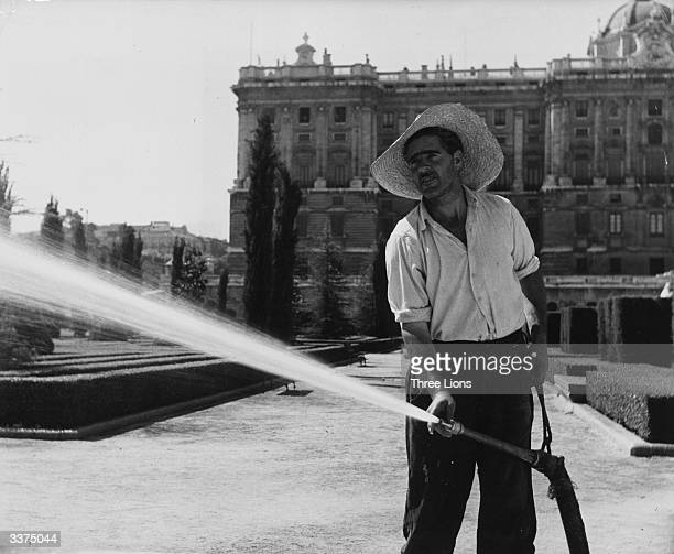 A gardener using a hose pipe to water lawns and hedgerows of the Plaza de Oriente in front of the Palacio Real in Madrid