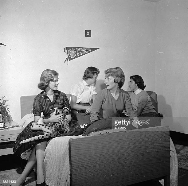 A group of female students at the Wyoming Seminary America chat together in the girls' dormitory
