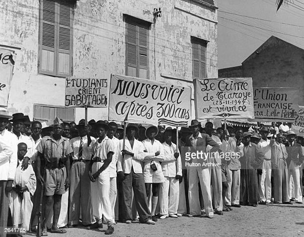 A group of Sudanese demonstrate against the discrimination meted out to them by their French colonial leaders and seek equal rights