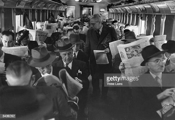 A packed carriage on a commuter train in Philadelphia