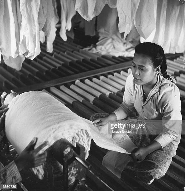 A woman at work unrolling a sheet of crepe from a roll in a rubber factory in Malaya