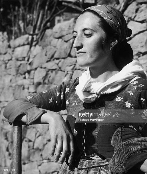 A woman in the mountain village of Metsova Greece wearing traditional clothing
