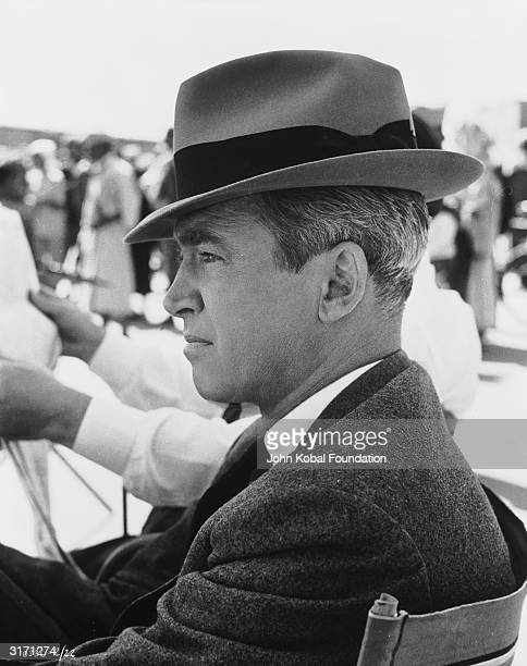 American actor James Stewart on the set of 'The Man Who Knew Too Much'