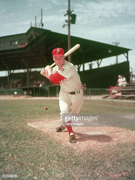Circa 1955 American baseball player Richie Ashburn posing with a bat while he was with the Philadelphia Phillies 1950s