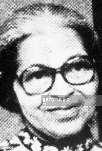 American civil rights activist Rosa Parks, whose refusal to give up her seat for a white man was the catalyst for the Montgomery bus boycott.