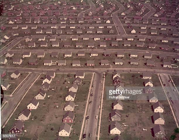 An aerial view of track housing in the suburban development of Levittown New York 1950s