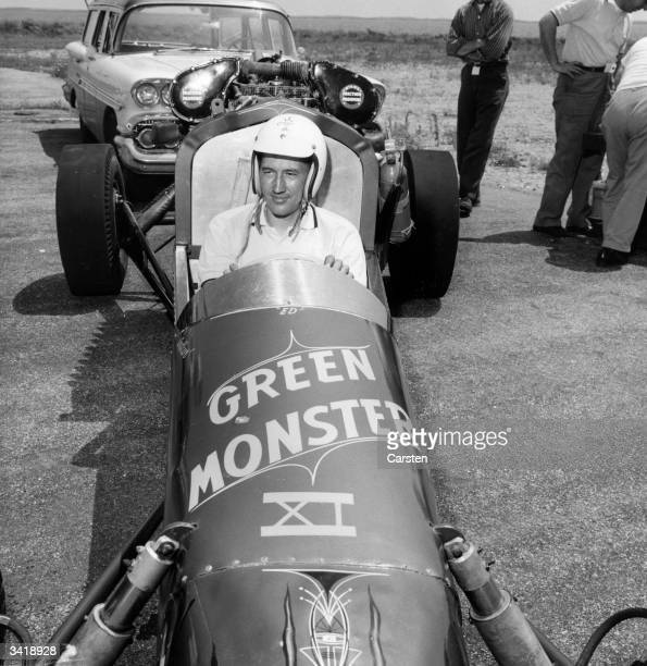 Art Afrons driver owner and builder of the Green Monster dragster in his car at the Pre National Championship Drag Races at Charlestown Naval Air...