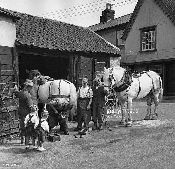 Circa 1955 Blacksmith Henry Dorken working with a small audience at Chipping Hill near Witham in Essex where his services are still required by...