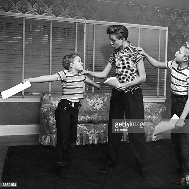 Child actor Ronnie Walken who later found fame as Hollywood star Christopher Walken with his brothers and fellow child actors Glenn and Ken in the...