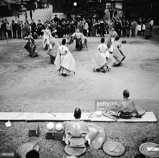 Citizens of Kyoto, Japan gather to play 'kemari', a variation of football dating back to the 7th century. The game is not played for points, simply...