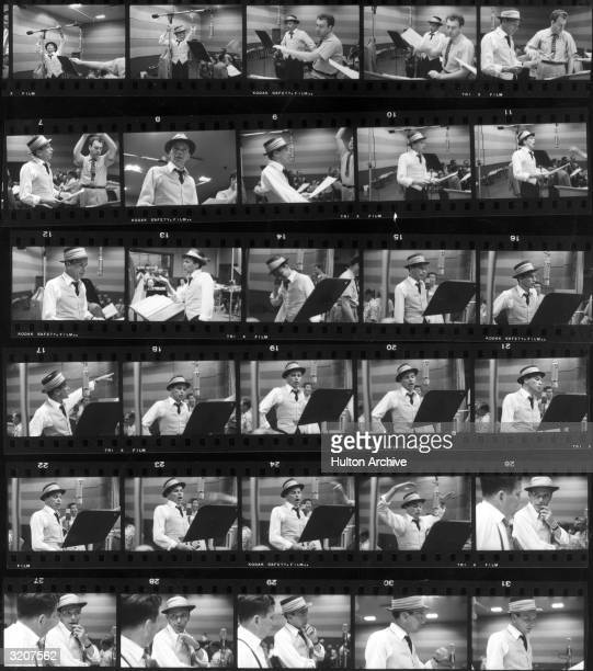 Contact sheet of American actor and singer Frank Sinatra singing in front of a music stand in recording studio
