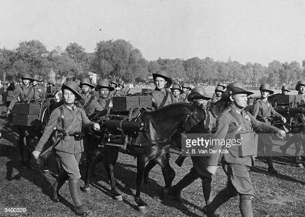 Dutch colonial troops marching in Indonesia