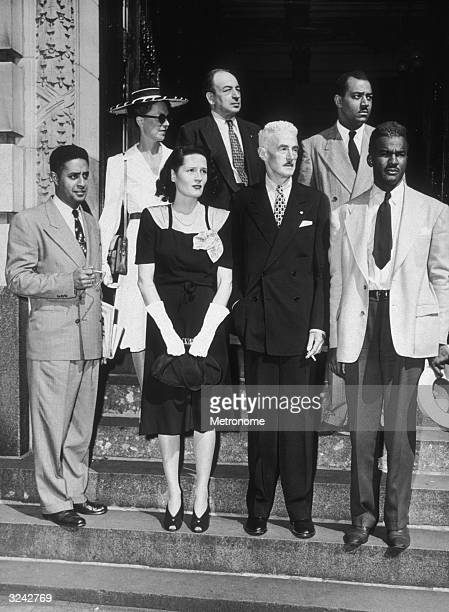 EXCLUSIVE Portrait of American author Dashiell Hammet and the Civil Rights Congress delegation comprised of E Guinier E Atwater C Collins K Earnshaw...