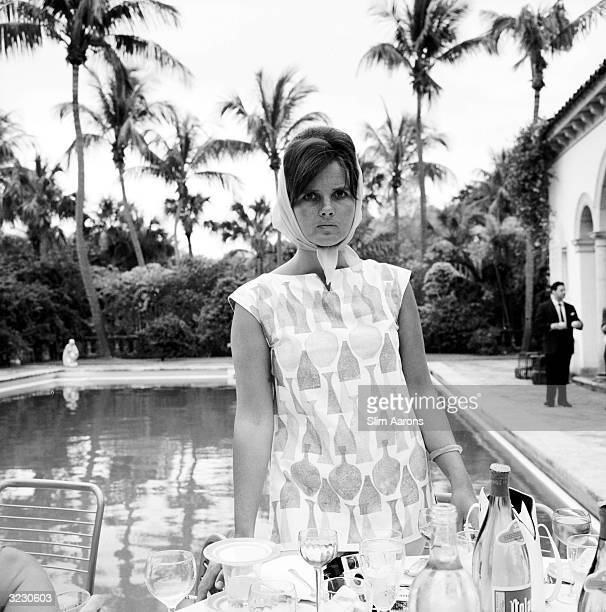 Fashion designer Lilly Pulitzer attends a poolside party in Palm Beach Florida