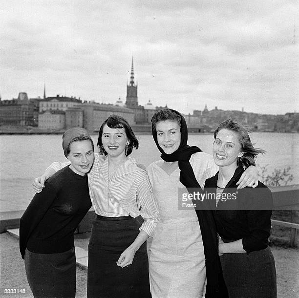 Four stars of Swedish cinema are gathered in Stockholm From left to right are Mona Malm Monica Nielsen Eva Larang and Bibi Andersson
