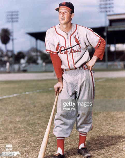 Fulllength portrait of American baseball player Stan Musial first baseman outfielder and slugger for the St Louis Cardinals wearing his uniform and...