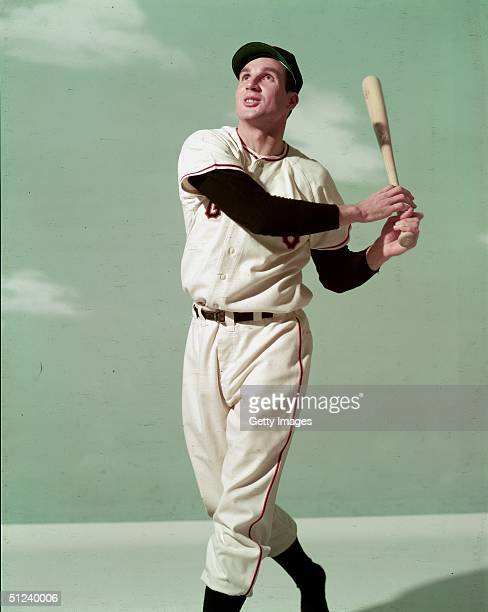 Circa 1955, Full-length portrait of Scottish born baseball player Bobby 'Nick the Greek' Thomson, outfielder with the New York Giants, posing in a...