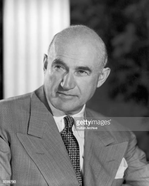 Headshot portrait of Polishborn film producer Samuel Goldwyn the founder of MGM motion picture studios looking to one side
