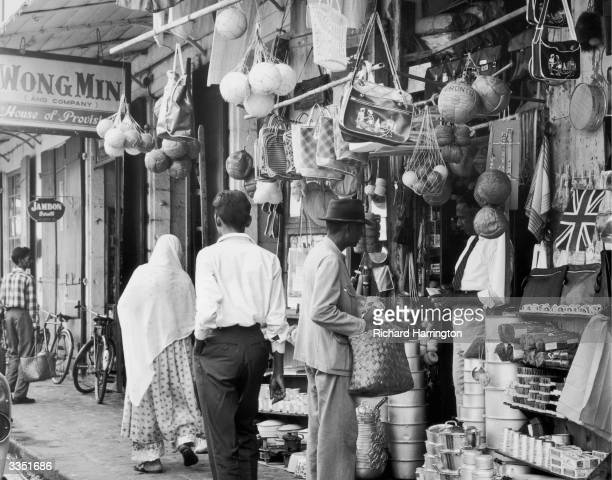 Household items displayed outside an Indian merchant's shop at Port Louis in Mauritius
