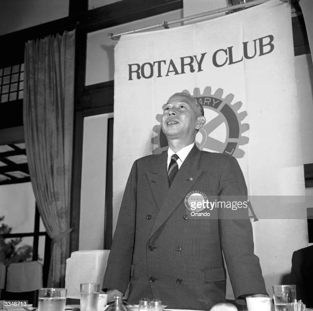 Joju Oda addressing a meeting of his local Rotary Club in Nara, Japan.