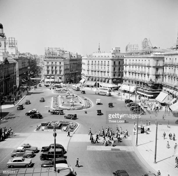 Looking down on the great square of Madrid the Puerto del Sol