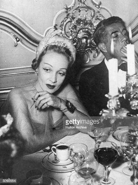 Marlene Dietrich American film actress wearing the diadem which she wore to the 'Night of the Diadems' which was held at the Latin American House in...