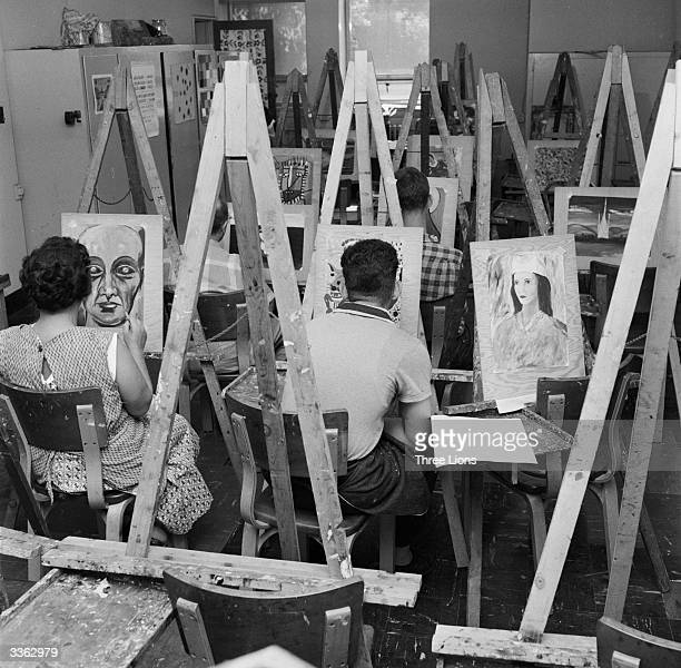 Patients at Hillside mental hospital attend an art therapy class