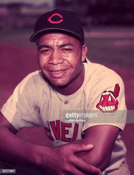 Portrait of Larry Doby the first AfricanAmerican player in the American League wearing his Cleveland Indians uniform Doby played outfield for the...