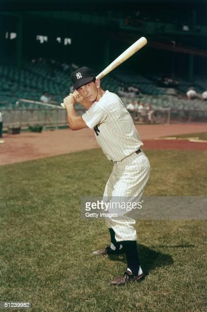 Circa 1955 Promotional portrait of American baseball player Billy Martin wearing his York Yankees uniform at bat 1950s