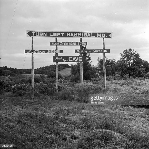 Road signs near Hannibal, Missouri, close to the river Mississippi. Hannibal was the birthplace of Mark Twain and inspired the setting for the...