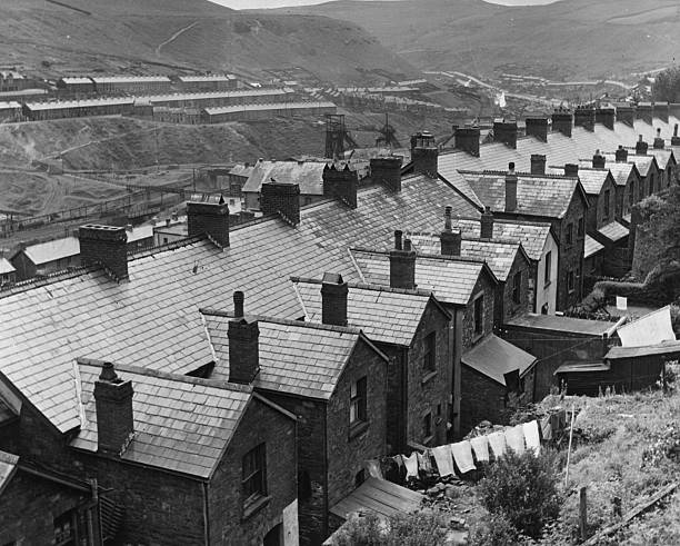 Rows of miners' houses in Tylerstown , South Wales....