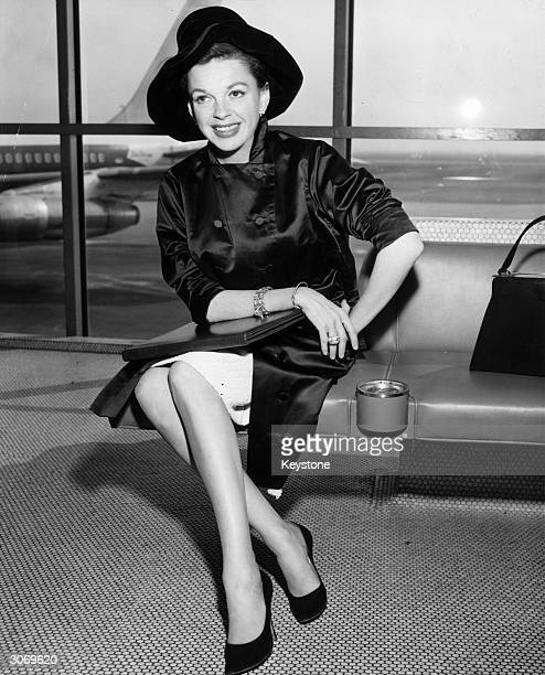 Singer and film star Judy Garland at an airport
