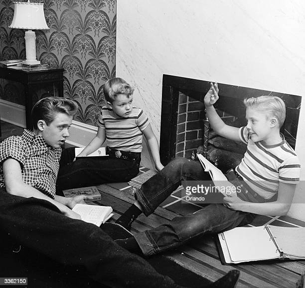 Television stars Ken Ronnie and Glenn Walken studying for school at home in Bayside Long Island They all attend the Professional Children's School