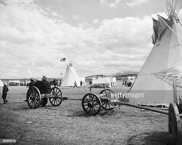 Tepees on a Blackfoot tribe reservation at Heart Butte Montana