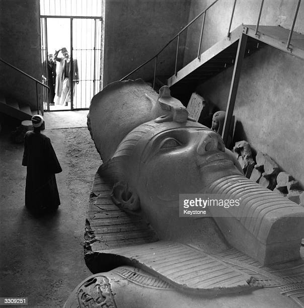 The colossal head carving of Ramses II which was discovered in 1870 in the approximate position of the capital of the Old Kingdom of Ancient Egypt...