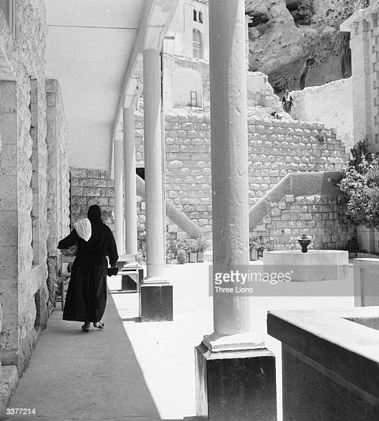 The courtyard of the Greek Orthodox convent in Maaloula Syria