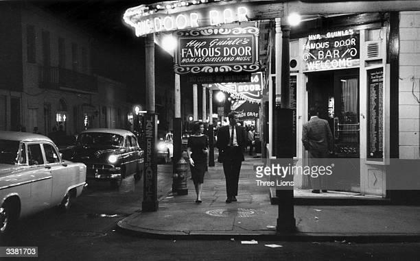 The entrance to the 'Famous Door Bar' Dixieland jazz club in the French quarter of New Orleans