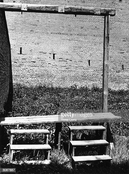 The gallows in the concentration camp at Terezinstadt or Theresienstadt in Bohemia where prisoners were forced to execute their fellow inmates under...